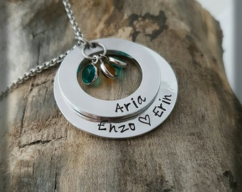 Personalised necklace  name necklace  personalized necklace family name necklace Hand stamped necklace  women's gift - gift for mum -