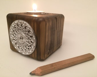 Reclaimed wood candleholder - rustic candleholder- silver  - tealight candle holder