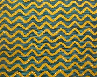 Teal and Mustard Ankara fabric, Classic African Print, Wave Print, African fabric By the Yard, African Wax print, Yardage, Sewing Fabric