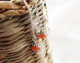 Sterling Silver and Peach Moonstone Threader Earrings, Chain Earrings, Gemstone Earrings