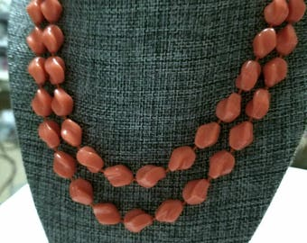 Vintage Sarah Coventry Long Single Strand Salmon color beaded Necklace