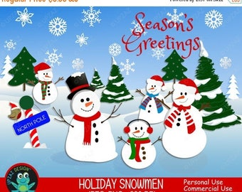 75% OFF SALE Snowman Clipart, Commercial Use, Snowmen, Digital Clipart, Digital Images - UZ632