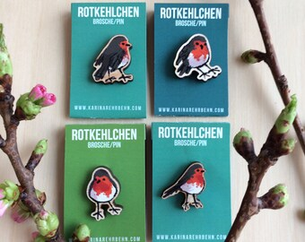 Robin brooch / pin Quartet 4pcs