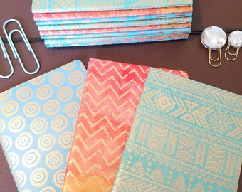 Hand bound Notebooks- Metallic finish on geometric pattern