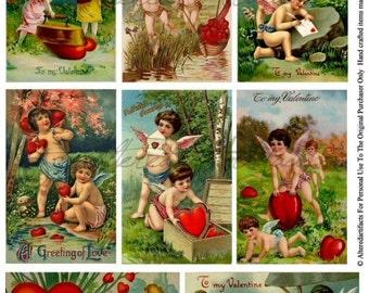 Instant Download Here's My Heart Vintage Valentine Postcard Scrap Digital Collage Sheet
