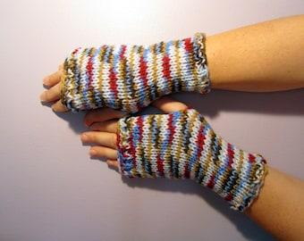 Fingerless Gloves - Blue, Red, White, Brown Mix Hand Knit Fingerless Gloves