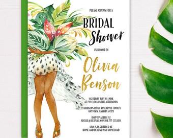 Tropical Bridal Shower Invitation, Fun Summer Sexy Bride Lingerie Shower Invite, Tropical Foliage Printable Bridal Shower Invitation