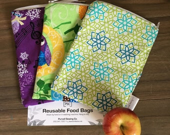 Owl & Bird Themed 3 Pack Coordinating Reusable Washable Lined Zippered Food Bag Sandwich Size