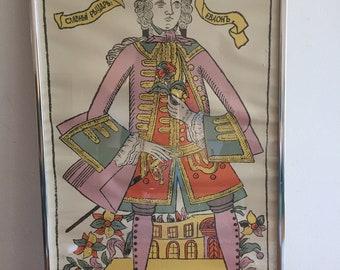 Framed Russian Folk Art Print Lubki Lubok Ink Primitive Folk Art, 18th C. Man in Lavender and Orange