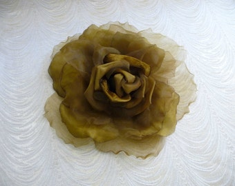 Moss and flower etsy extra large silk and velvet rose moss olive brown gold millinery flower for hats home dec fascinators mightylinksfo