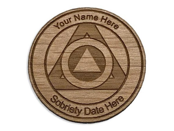 Personalized Wooden Aa Anniversary Token Alcoholics Anonymous