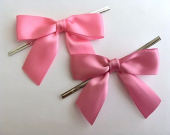 12 Bubblegum or Lipstick Mauve Pink Pre-made Bow Embellishments
