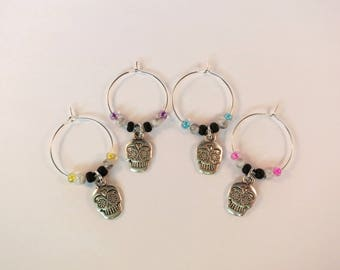 Skull Wine Charms / Drink Markers / Wine Glass Jewelry / Nature Inspired / Sugar Skull Jewelry / Hostess Add-On Gift / Bar Accessories