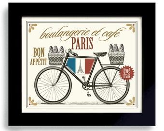 French Bakery Paris Decor France Kitchen Art French Cooking Bakery Sign Bicycle Art Bon Appetit French Decor French Bread Baking Gift