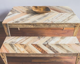 Chevron top Pallet Table and Bench