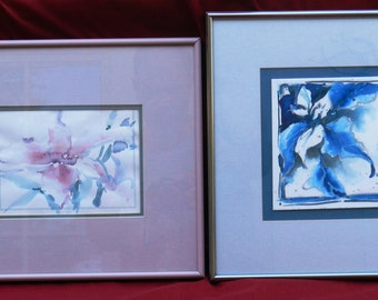 2 Watercolor Paintings of Flowers, Framed and Matted by Oregon Artist Karen O'Malley        00361