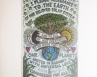 Earth Pledge Art Print - Environmental Art - Earth Allegiance Pledge Poster - Nature Art - Home Decor - Environmentalist Poster
