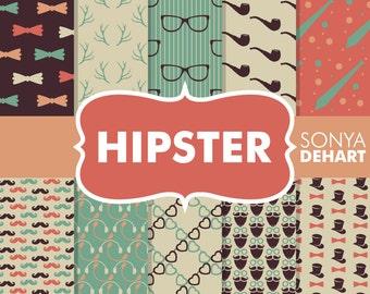 80% OFF SALE Digital Paper Hipster Nerd Geek Background Patterns