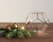 Glass Geometric Terrarium, Dad Gift, Gardening Gift, Copper Home Decor, Boyfriend Gift, Copper Desk Planter, Coworker Gift, Pencil Holder