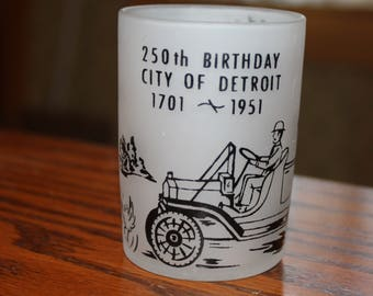 250th Birthday City of Detroit, Frosted 4 ounce Bar Glass 1701-1951