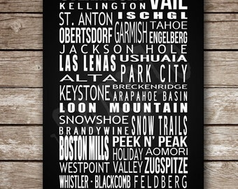 Custom Printable Ski Destination Poster - Made to Order