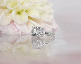 Antique Style Ring, Herkimer Diamond, Traditional Ring, Engagement Ring, Antique Ring, Vintage Style Ring, Diamond Alternative, Solitaire