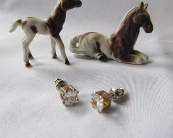 SALE 1CT cz Diamond Earrings Minimalist Jewelry Sterling Silver Gold Plate over Sterling Cubic Zirconia Stud Earrings