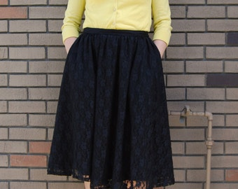 Black Lace Vintage Retro Half Circle Skirt! With Pockets!
