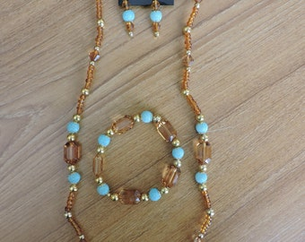 Amber/Blue Sparkle Accented Jewelry Set