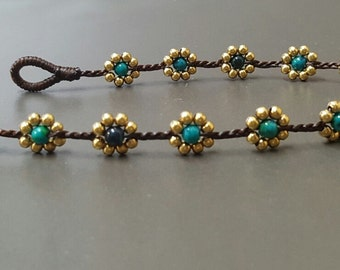 Chrysocolla Brass Flower  Anklet