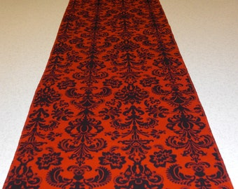 SALE - Eco Friendly Red and Black Damask Tablerunner