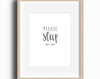 Please Sleep Printable | Nursery Art | Nursery Gallery Wall