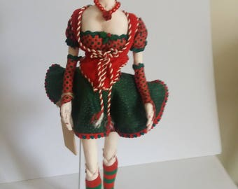Moira, one of a kind cloth art doll. Christmas Elf who will stand or sit on a shelf