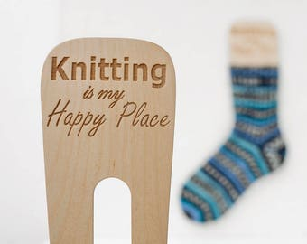 Gift idea for knitter Wooden sock blockers, knitting gift idea, knitting tool, sock dryer with engraving - Knitting is my happy place