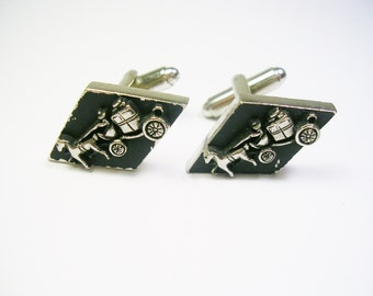 VINTAGE CUFF LINKS Stagecoach Cufflinks Retro Style silver tone metal black enamel
