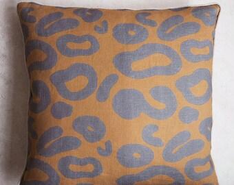 Linen Leopard Print Cushion