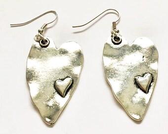 Bali Silver Heart  Earrings