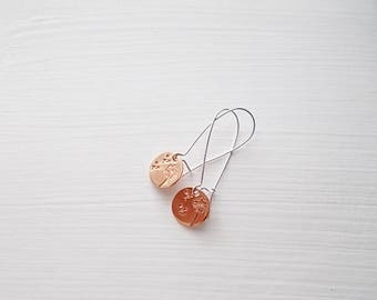 Hand Stamped Dandelion Copper and Silver Earrings Mixed Metal Earrings Everyday Earrings Nickle Free Kidney Ear Wires