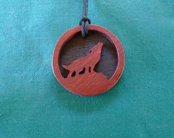 Wolf Necklace, Spirit Animal Pendant, Werewolf Pendant, Celtic Legend Jewelry, Wolf talisman, Handcrafted Exotic Wood Pendant