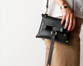 Cute black leather envelope clutch/Leather Small Crossbody bags/leather Crossbody/cross body bag/leather satchel/everyday bag womens/gift