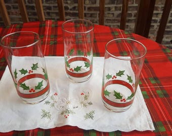 Vintage Libbey Holly and Berries Christmas Tumbler Water Glasses Set of 3