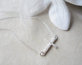 Sideways Cross CZ Rhinestone Necklace All Sterling Silver