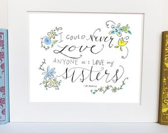 Sister Room Decor - Little Women - wall art - handlettered - JMQ