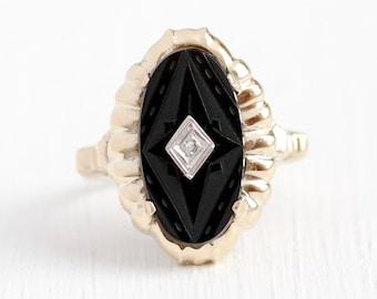 Vintage Onyx Ring - Antique Art Deco 10K Rosy Yellow Gold Carved Black Gemstone & Diamond - 1930s Size 7 3/4 Statement Fine Jewelry