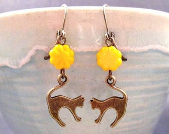CAT Earrings, Yellow Glass Flower Beads and Brass Dangle Earrings, FREE Shipping U.S.