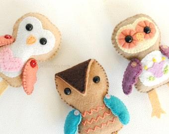 Felt Ornament Pattern - Stuffed Owl Christmas Ornament Pattern - 3 Cute Owls PDF Sewing Pattern - Owl Felties Stuffed Toys