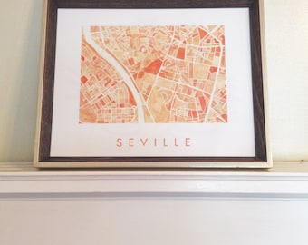 SEVILLE Map Watercolor Print SPAIN City Map Block Plan (Art Print) Wedding Gift Anniversary Spanish Wall Art