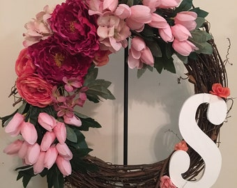 Spring wreath, spring wreaths for front door, wreaths for front door, summer wreath, spring decor, wreath for spring, Mother's Day gift,
