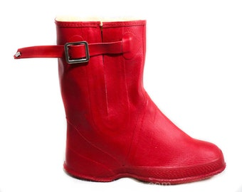 Kid's Red Galoshes - Child Size 1 - Authentic 1950s Children's Rain Boots - 50s Converse Waterproof Rubber - Mid Century Deadstock - 50600-1