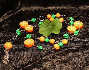 Long orange Necklace
